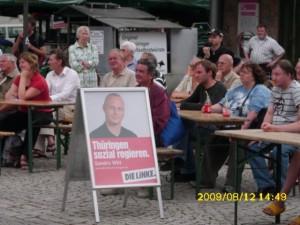 Bilder der Wahltour von MP Kandidat Bodo Ramelow in Weimar